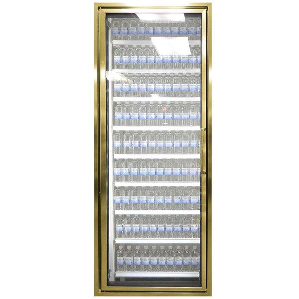 "Styleline CL2472-2020 20//20 Plus 24"" x 72"" Walk-In Cooler Merchandiser Door with Shelving - Anodized Bright Gold, Left Hinge"