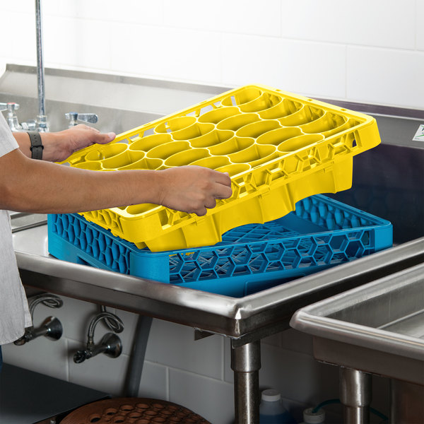 Carlisle REW30LC04 OptiClean NeWave 30 Compartment Yellow Color-Coded Long Glass Rack Extender