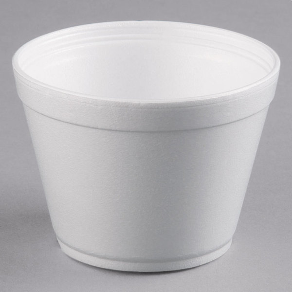 Dart 16MJ32 16 oz. Customizable Squat White Foam Food Bowl - 500/Case