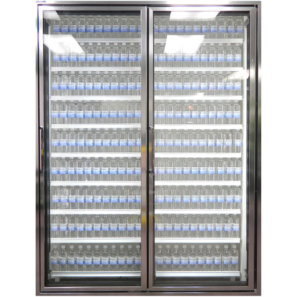 """Styleline CL3080-NT Classic Plus 30"""" x 80"""" Walk-In Cooler Merchandiser Doors with Shelving - Anodized Bright Silver, Right Hinge - 2/Set Main Image 1"""