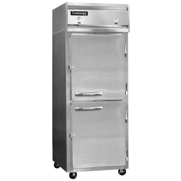 "Continental Refrigerator 1RFX-HD 36 1/4"" Solid Half Door Extra-Wide Dual Temperature Reach-In Refrigerator / Freezer - 32 cu. ft."