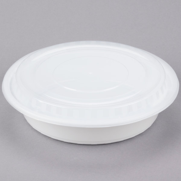 Choice 48 oz. White 9 inch Round Microwavable Heavy Weight Container with Lid - 150/Case
