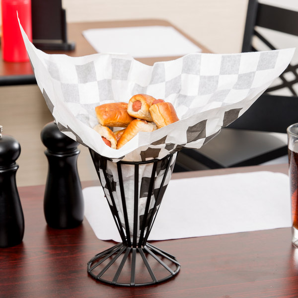 """Choice 9"""" x 10"""" Black Check Wire Cone Basket Liner / Deli Wrap / Double Open Bag - 250/Pack"""