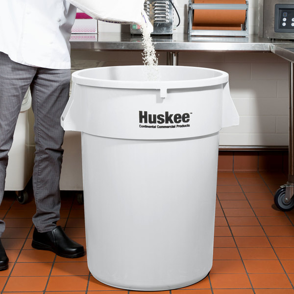 Continental 4444WH Huskee 44 Gallon White Trash Can
