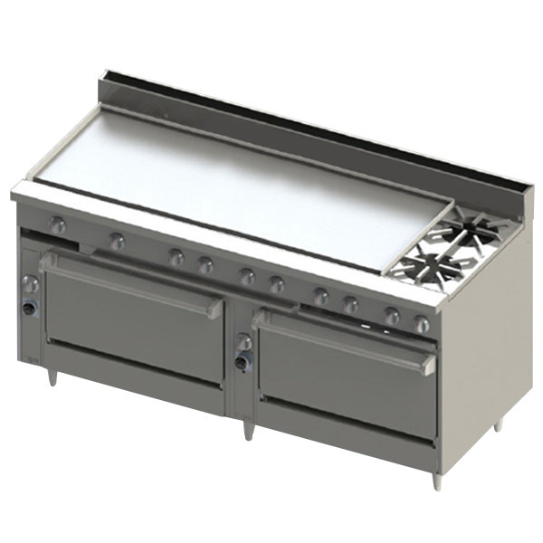 "Blodgett BR-60G-2-3636-LP Liquid Propane 2 Burner 72"" Manual Range with 60"" Left Griddle and Double Standard Oven Base - 240,000 BTU Main Image 1"