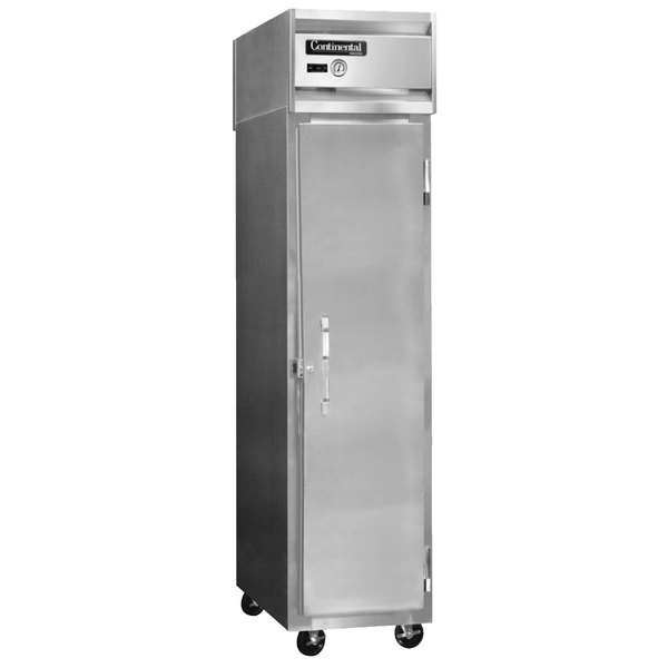 "Continental Refrigerator 1RSES-SS 18"" Shallow Depth Narrow Reach-In Refrigerator - 12 Cu. Ft."
