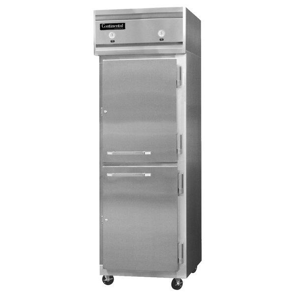 "Continental Refrigerator 1RF-SA-HD 26"" Solid Half Door Dual Temperature Reach-In Refrigerator / Freezer - 20 cu. ft."