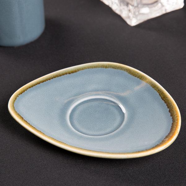 "Arcoroc FJ357 Terrastone 6 3/8"" x 4 7/8"" Blue Porcelain Saucer by Arc Cardinal - 48/Case"
