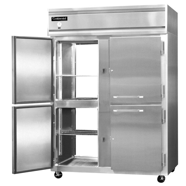 "Continental Refrigerator 2FE-SS-PT-HD 57"" Half Door Extra Wide Pass-Through Freezer - 50 Cu. Ft."