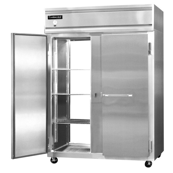 "Continental Refrigerator 2FE-SS-PT 57"" Solid Door Extra Wide Pass-Through Freezer - 50 Cu. Ft."