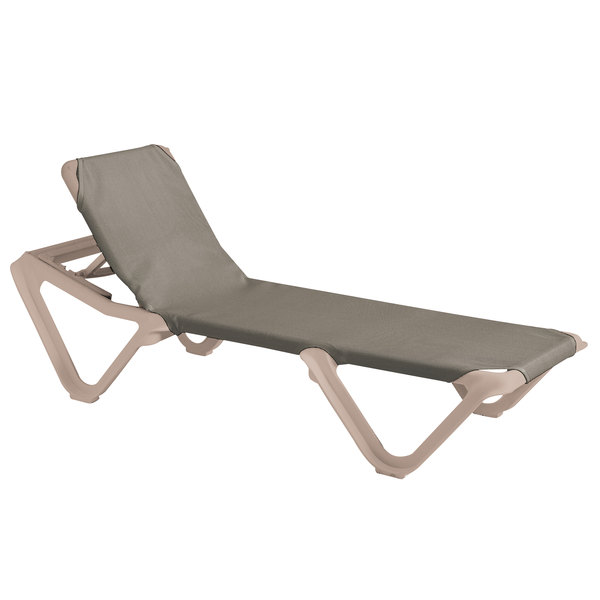 Case of 12 Grosfillex 99155181 / US155181 Nautical Sandstone / Taupe Stacking Adjustable Resin Sling Chaise