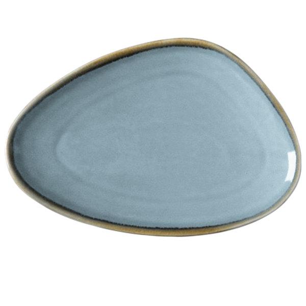 "Arcoroc FJ346 Terrastone 11 1/2"" x 8"" Blue Porcelain Oval Platter by Arc Cardinal - 12/Case"