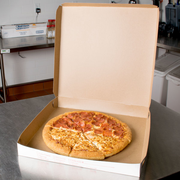"16"" x 16"" x 2"" Clay Coated Pizza Box - 100/Bundle"