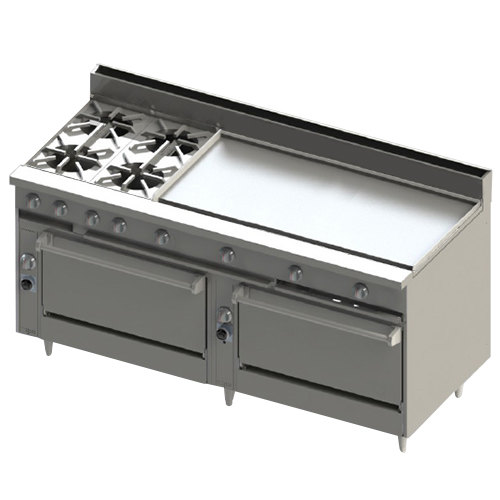 """Blodgett BR-4-48GT-3636-LP Liquid Propane 4 Burner 72"""" Thermostatic Range with 48"""" Right Griddle and Double Standard Oven Base - 276,000 BTU Main Image 1"""