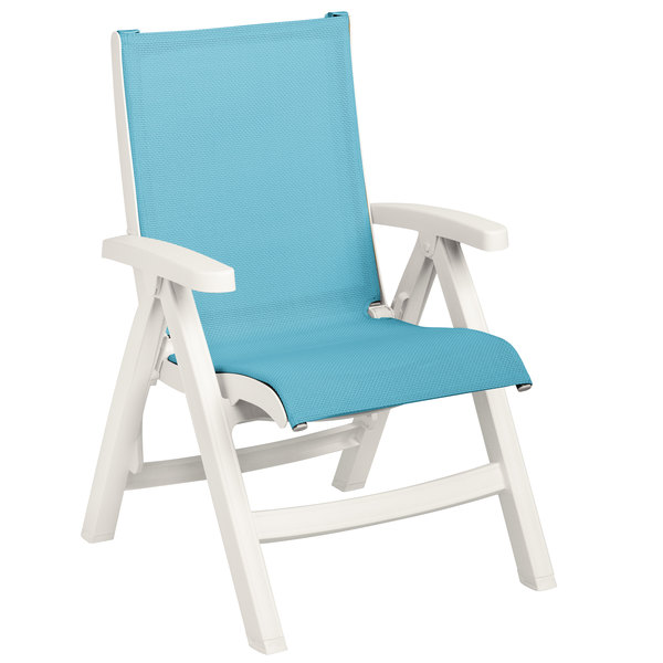 Merveilleux Grosfillex US241004 Belize White Midback Folding Resin Outdoor Sling Chair  With Turquoise Seat   2/Pack