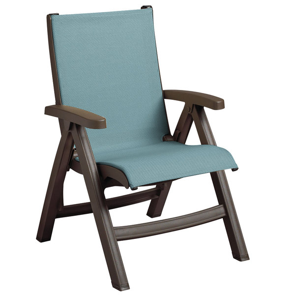 Charmant Grosfillex US550037 Belize Bronze Mist Midback Folding Resin Outdoor Sling  Chair With Spa Blue Seat   2/Pack