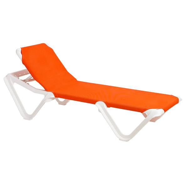 Case of 12 Grosfillex 99101019 / US101019 Nautical White / Orange Stacking Adjustable Resin Sling Chaise