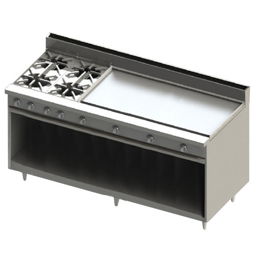 "Blodgett BR-4-48GT-LP Liquid Propane 4 Burner 72"" Thermostatic Range with 48"" Right Griddle and Cabinet Base - 216,000 BTU Main Image 1"