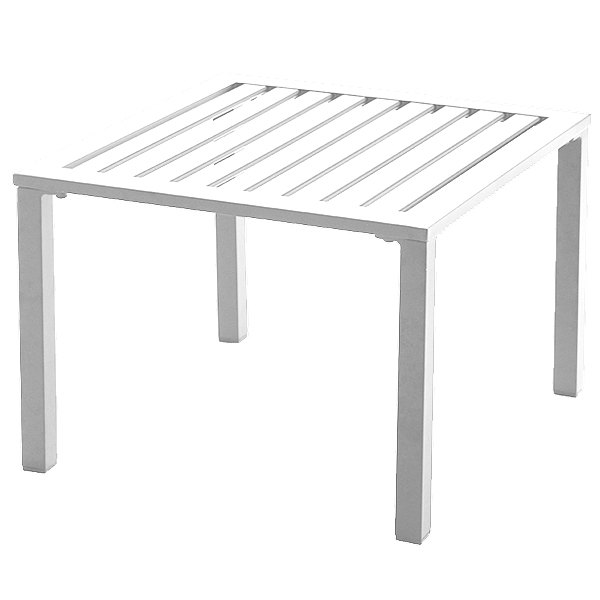 "Grosfillex US020004 Atlantica 20"" Square White Low Outdoor Table"