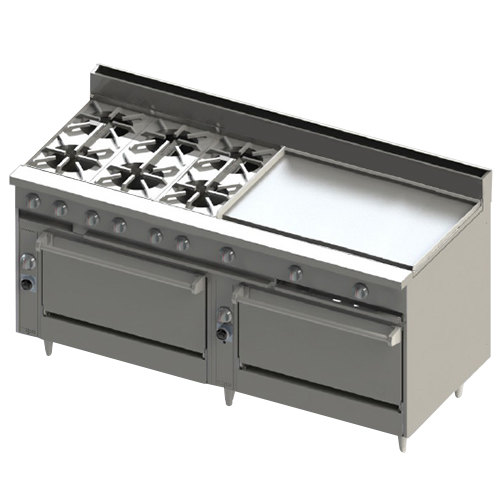 "Blodgett BR-6-36GT-3636-NAT Natural Gas 6 Burner 72"" Thermostatic Range with 36"" Right Griddle and Double Standard Oven Base - 312,000 BTU"