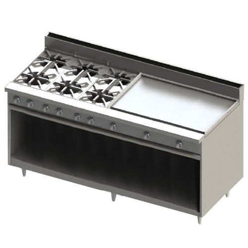 """Blodgett BR-6-36GT-LP Liquid Propane 6 Burner 72"""" Thermostatic Range with 36"""" Right Griddle and Cabinet Base - 252,000 BTU Main Image 1"""