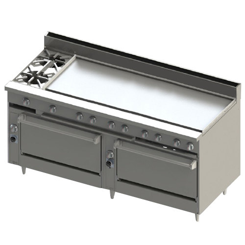 "Blodgett BR-2-60GT-3636-LP Liquid Propane 2 Burner 72"" Thermostatic Range with 60"" Right Griddle and Double Standard Oven Base - 240,000 BTU Main Image 1"