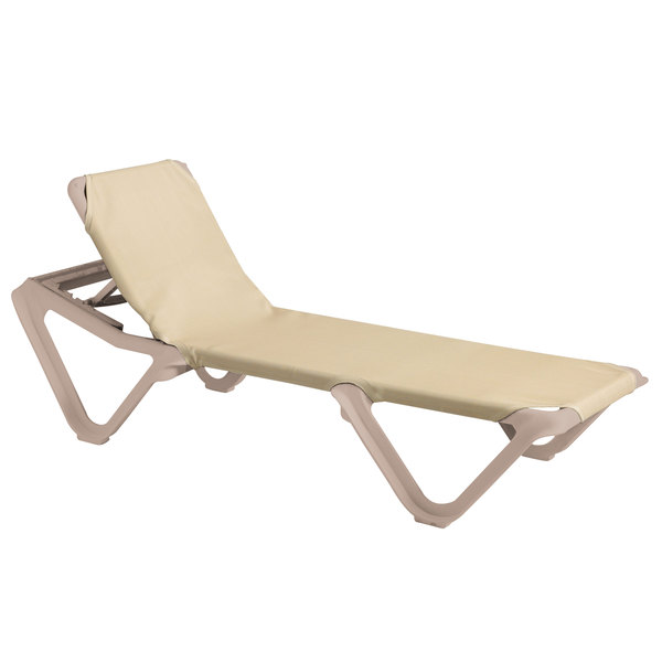 Case of 12 Grosfillex 99155003 / US155003 Nautical Sandstone / Khaki Stacking Adjustable Resin Sling Chaise
