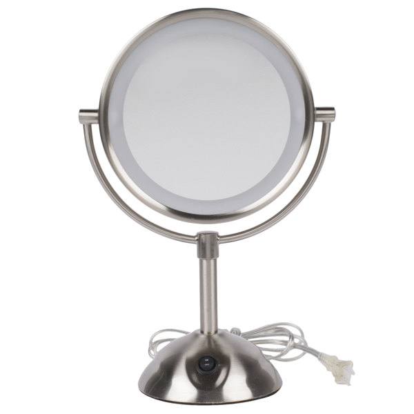 Lighted Makeup Mirror.Conair Be119wh 8 1 2 Satin Nickel Freestanding Led Lighted Vanity Mirror With On Off Switch