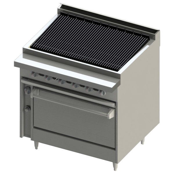 "Blodgett BR-48B-36-NAT Standard Cafe Series Natural Gas 48"" Radiant Charbroiler with Standard Oven - 150,000 BTU Main Image 1"