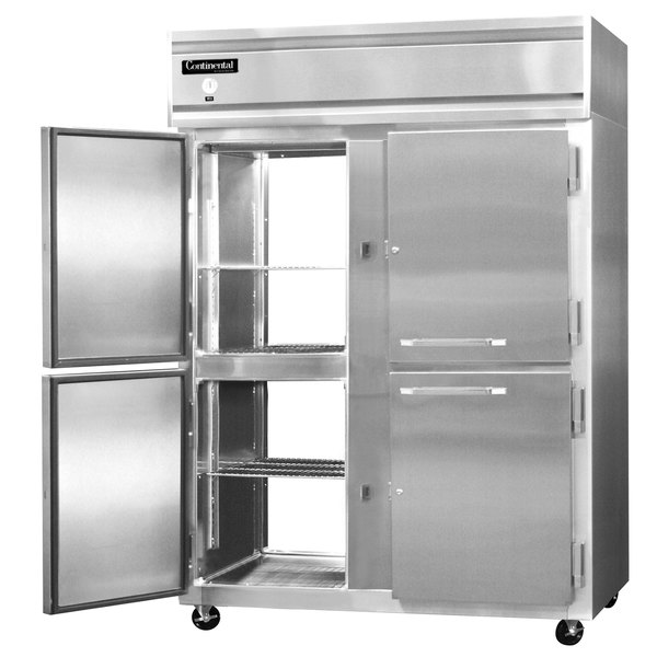 "Continental Refrigerator 2RE-SA-PT-HD 57"" Half Door Extra Wide Pass-Through Refrigerator - 50 Cu. Ft."