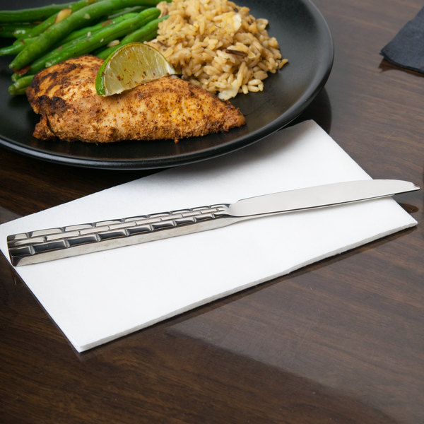 """10 Strawberry Street PAN-DK Panther Link 18/0 Heavy Weight 9"""" Stainless Steel Dinner Knife - 12/Case"""