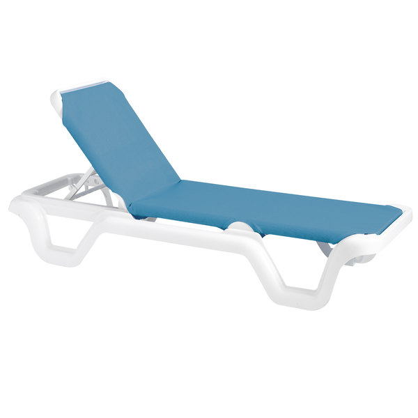 Grosfillex 99404194 Us404194 Marina White Sky Blue Adjule Sling Chaise Lounge Chair