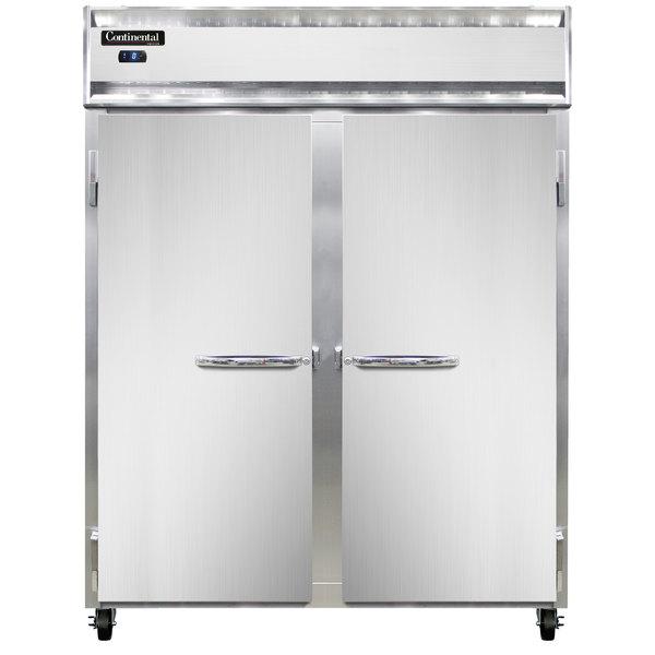 "Continental Refrigerator 2FSES-SS 36 1/4"" Solid Door Slim Line Shallow Depth Reach-In Freezer - 30 cu. ft."
