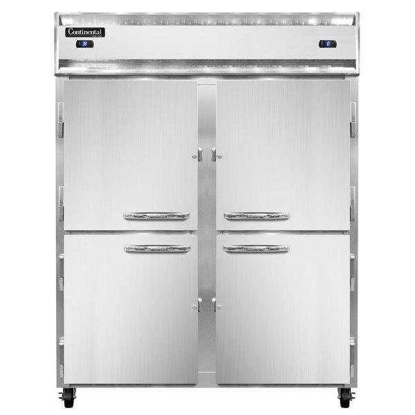 "Continental Refrigerator 2RES-SS-HD 57"" Half Door Extra Wide Shallow Depth Reach-In Refrigerator - 40 Cu. Ft."