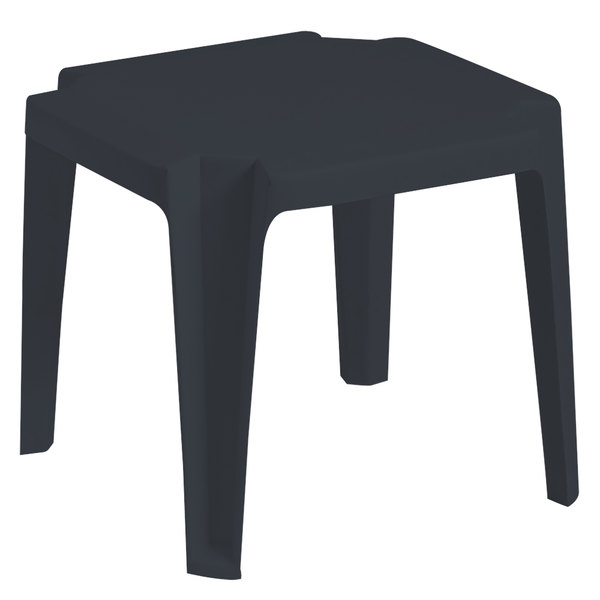 """Grosfillex US599902 / US529602 Miami 17"""" x17"""" Charcoal Resin Low Table"""