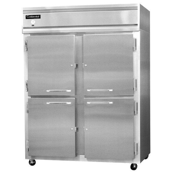 "Continental Refrigerator 2RE-SS-HD 57"" Half Door Extra Wide Reach-In Refrigerator - 50 Cu. Ft."