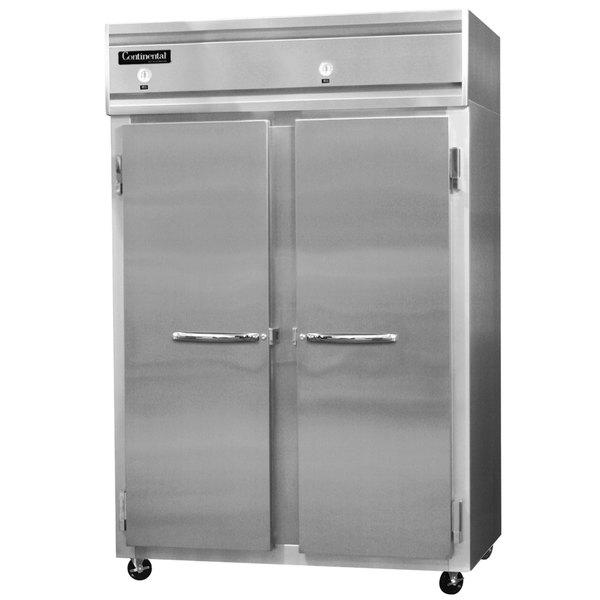 "Continental Refrigerator 2RF-SS 52"" Solid Door Dual Temperature Reach-In Refrigerator / Freezer - 40 cu. ft."