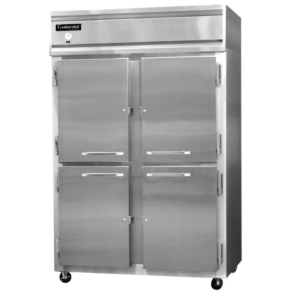 "Continental Refrigerator 2F-SS-HD 52"" Half Door Reach-In Freezer - 48 Cu. Ft."