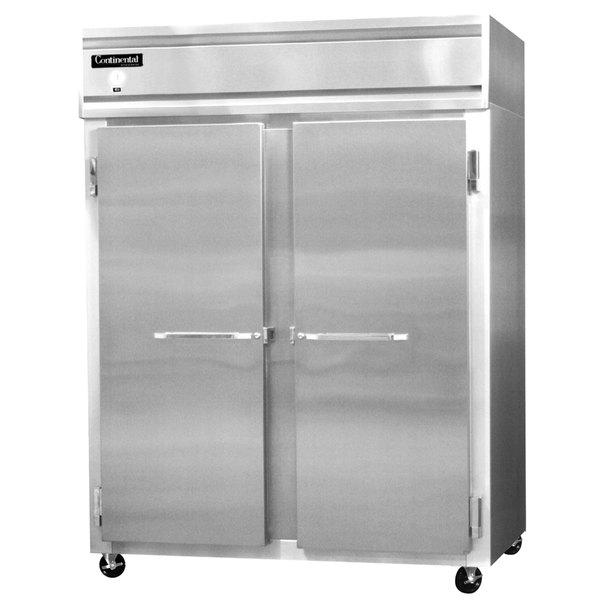 "Continental Refrigerator 2RE-SS 57"" Solid Door Extra Wide Reach-In Refrigerator - 50 Cu. Ft."