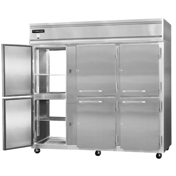 "Continental Refrigerator 3FE-SA-PT-HD 85 1/2"" Half Door Extra Wide Pass-Through Freezer - 73 Cu. Ft."