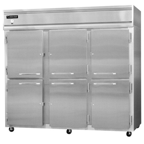 "Continental Refrigerator 3FE-LT-SS-HD 85 1/2"" Half Door Extra Wide Low Temperature Reach-In Freezer - 73 Cu. Ft."