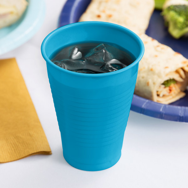 Creative Converting 28313171 12 oz. Turquoise Plastic Cup - 240/Case Main Image 3