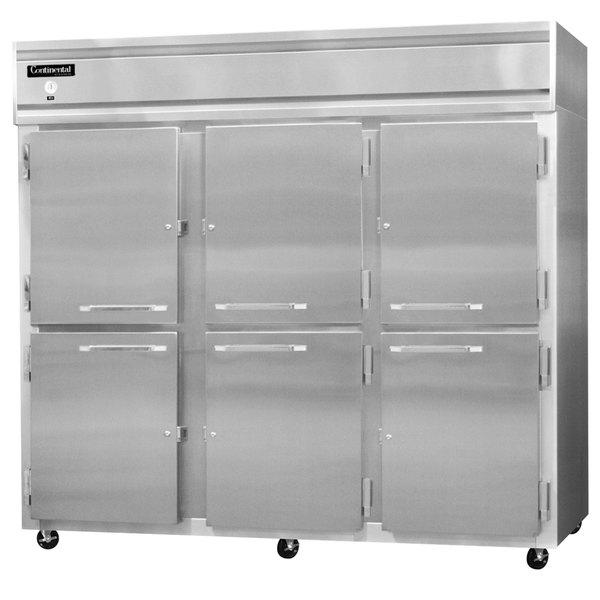 "Continental Refrigerator 3FES-SS-HD 85 1/2"" Half Door Extra Wide Shallow Depth Reach-In Freezer - 63 Cu. Ft."