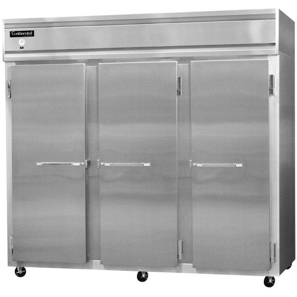 "Continental Refrigerator 3FE-LT-SS 85 1/2"" Solid Door Extra Wide Low Temperature Reach-In Freezer - 73 Cu. Ft."