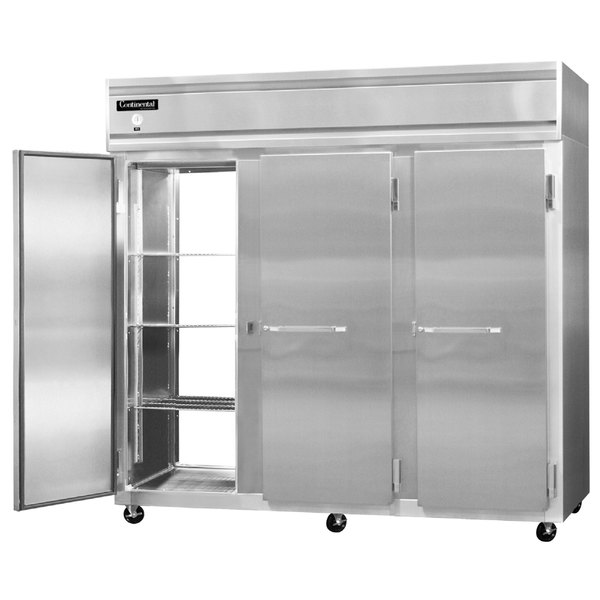"Continental Refrigerator 3FE-SA-PT 85 1/2"" Solid Door Extra Wide Pass-Through Freezer - 73 Cu. Ft. Main Image 1"