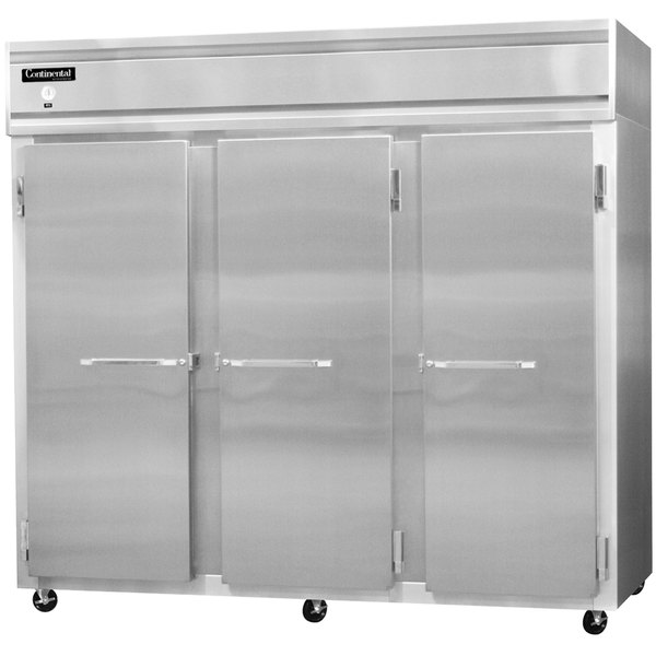 """Continental Refrigerator 3FES-SS 85 1/2"""" Solid Door Extra Wide Shallow Depth Reach-In Freezer - 63 Cu. Ft."""