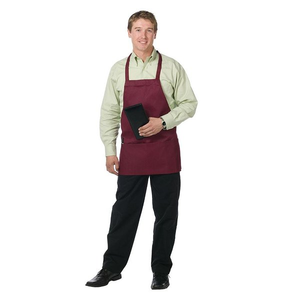 "Chef Revival 612BAFH-BG Customizable Burgundy Bib Apron - 28""L x 27""W"