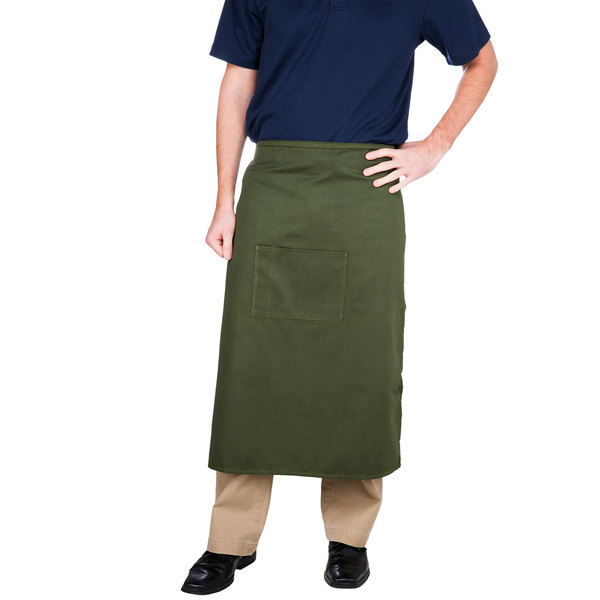 "Choice Hunter Green Bistro Apron with Pocket - 34""L x 30""W"