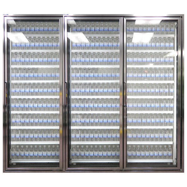"Styleline CL2672-HH 20//20 Plus 26"" x 72"" Walk-In Cooler Merchandiser Doors with Shelving - Anodized Bright Silver, Right Hinge - 3/Set"