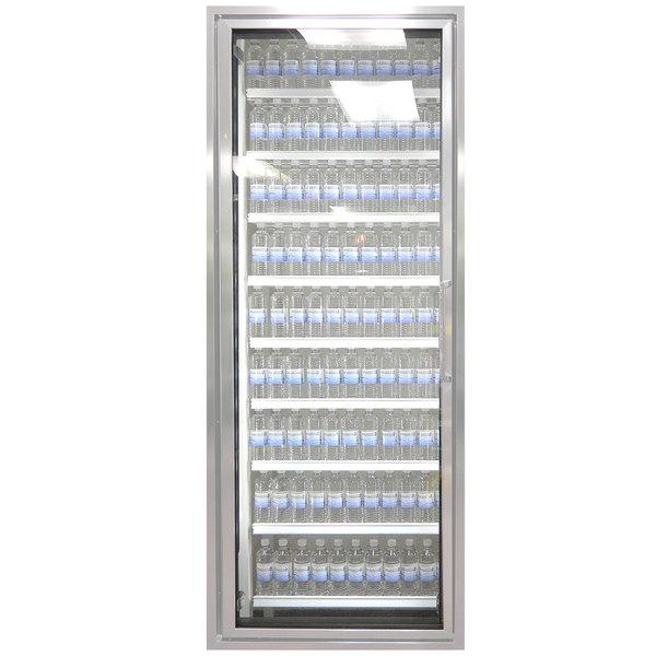 "Styleline CL2672-HH 20//20 Plus 26"" x 72"" Walk-In Cooler Merchandiser Door with Shelving - Anodized Satin Silver, Left Hinge Main Image 1"